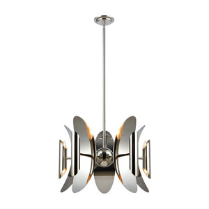 Into Stellar Space Polished Nickel and Stainless Steel 10-Light Chandelier