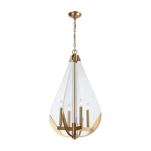 Vapor Cone Aged Brass with Clear Acrylic Four-Light Chandelier