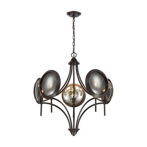 Cadabra Oiled Bronze with Plated Smoke Glass Five-Light Chandelier