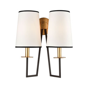 On Strand Oiled Bronze with Gold Leaf Two-Light Wall Sconce