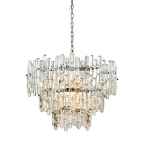 Icy Reception Chrome with Clear Glass Nine-Light Chandelier