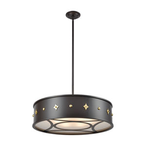 Roman Oil Rubbed Bronze and Antique Brass Six-Light Pendant