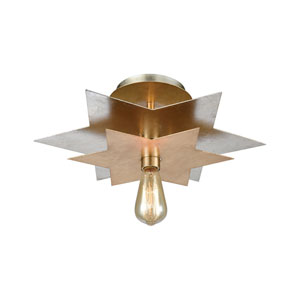 Stacked Stars Antique Gold Leaf and Silver Leaf One-Light Flush Mount