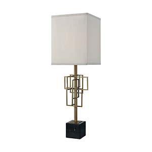 Hollywood Squarze Weathered Antique Brass and Black Marble One-Light Table Lamp