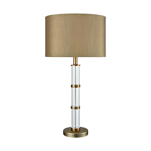 Infinitum Clear Crystal and Weathered Antique Brass One-Light Table Lamp