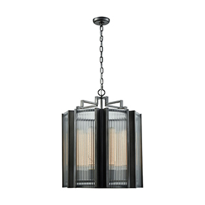 Space Elevator Aged Pewter Eight-Light Chandelier