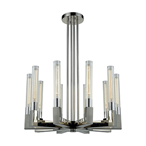 Light Thrust Polished Nickel 10-Light Chandelier