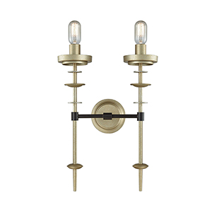 Orion Oil Rubbed Bronze and Antique Silver Two-Light Wall Sconce