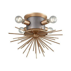 Lucy Spike Weathered Zinc and Antique Gold Four-Light Semi Flush Mount