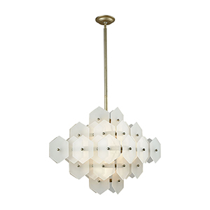 Cash Antique Silver and Matte White Eight-Light Chandelier