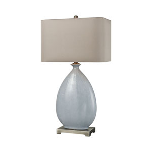Bluelace Light Blue Crackle Ceramic with Pewter 32-Inch One-Light Table Lamp