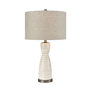 Countess of Cork Off White Glaze and Pewter 24-Inch One-Light Table Lamp