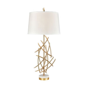 Parry Gold Plated Metal and White Marble 35-Inch One-Light Table Lamp