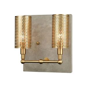 Fuego Concrete and New Aged Brass Two-Light Wall Sconce