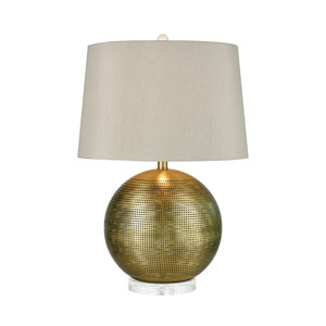 Punkture Weathered Antique Brass and Clear 25-Inch One-Light Table Lamp