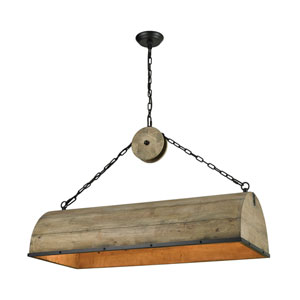 Single Barrel Weathered Antique Brass and Black Four-Light Chandelier