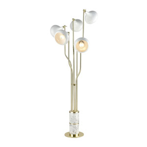 Mallow Gold Plated and White Marble 72-Inch Five-Light Floor Lamp