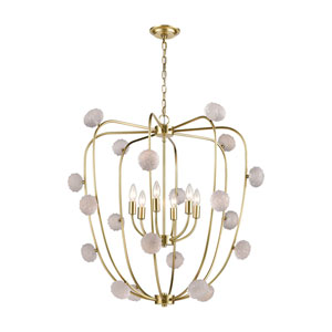 Assent New Aged Brass and Clear Six-Light Chandelier