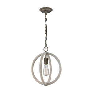 Lasso Grey Brown Rust and Rope One-Light Pendant