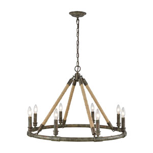 Big Sugar Grey Washed Wood and Antique Silver Mercury Glass Eight-Light Chandelier