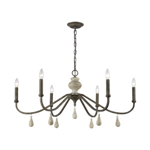 French Connection Malted Rust and Grey Wood Six-Light Chandelier