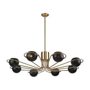Scarab New Aged Brass and Semi-Gloss Black Eight-Light Chandelier