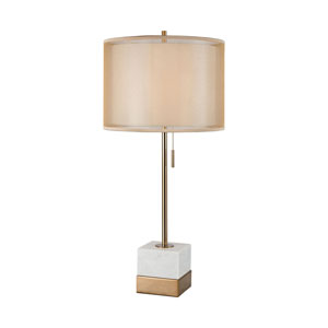 Marmalade White Marble and Brushed Gold 30-Inch One-Light Table Lamp