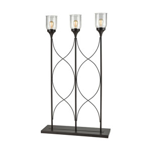 Covent Garden Oil Rubbed Bronze and Clear Seeded Glass 59-Inch Three-Light Floor Lamp