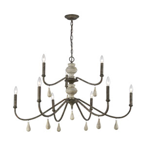 French Connection Malted Rust and Grey Wood Nine-Light Chandelier