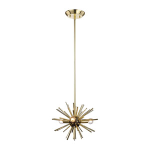 Starburst Polished Gold and Oil Rubbed Bronze Three-Light Pendant