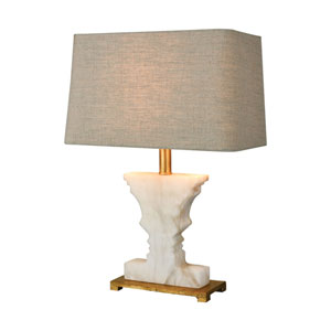 Cheviot Hills White Alabaster and Gold Leaf One-Light Table Lamp