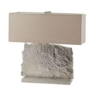 Slate Slab Nickel Two-Light Table Lamp