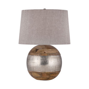 German Mango Wood and German Silver One-Light 12-Inch Table Lamp