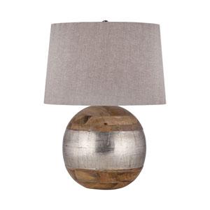 Mango Wood German Silver 27-Inch LED Table Lamp