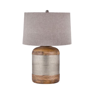 German Mango Wood and German Silver One-Light 18-Inch Table Lamp