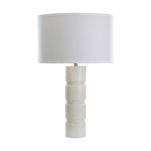 White Marble 26-Inch LED Round Stacked Marble Table Lamp