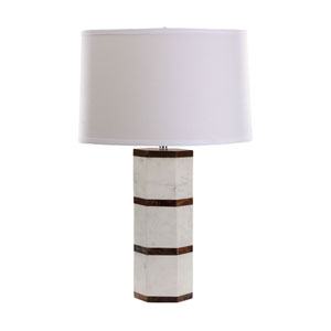 Marble White Marble and Shesham Wood One-Light Table Lamp