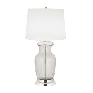 Massive Clear Glass and Polished Nickel One-Light Table Lamp