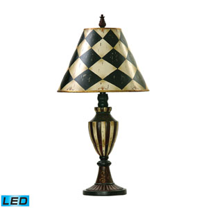 Harlequin And Stripe Urn Black and Antique White One Light LED Table Lamp