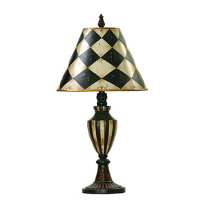 Harlequin And Stripe Urn Black and Antique White One Light Table Lamp