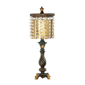 Amber And Crystal Gold Leaf and Black One Light Table Lamp