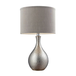 Chrome Plated 22-Inch Hammered Chrome Table Lamp