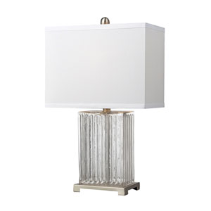 Clear Color 24-Inch Ribbed Clear Glass Table Lamp