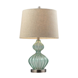 Light Green Smoke 25-Inch Smoked Glass Table Lamp