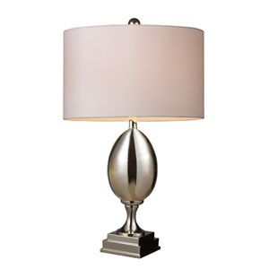 Waverly Chrome Plated Glass Table Lamp with White Shade