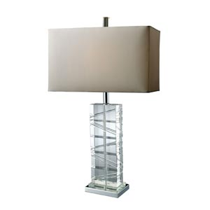 Crystal Avalon Chrome and Crystal One-Light Table Lamp