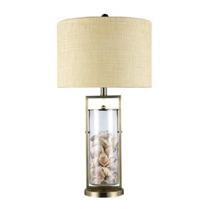 Trendsitions Millisle Antique Brass and Clear Glass One-Light Table Lamp