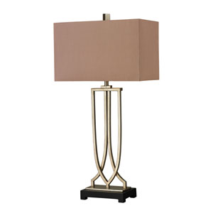 Free Form Iron Antique Silver Leaf LED Table Lamp