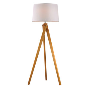 Wooden Tripod Natural Wood Tone One Light Floor Lamp