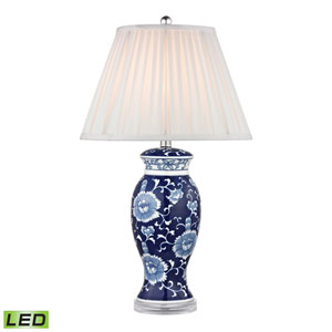 Blue and White Hand Paint One Light LED Table Lamp